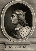 Louis IX known as St Louis (1215-70) a member of the Capetian dynasty, king of France from 1226. In 1249 on the 6th Crusade Louis was captured and was ransomed in 1250.  In 1270 embarked on the 8th Crusade and died of plague at Tunis. Copperplate engraving