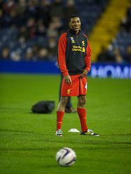 WEST BROMWICH, ENGLAND - Wednesday, September 26, 2012: Liverpool's Jerome Sinclair warms-up before the Football League Cup 3rd Round match against West Bromwich Albion at the Hawthorns. (Pic by David Rawcliffe/Propaganda)