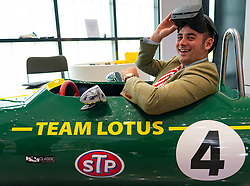 Duns, Scotland, UK. 29 August 2019. Official opening of the new Jim Clark Motorsport Museum in Duns, Berwickshire, UK. The museum was opened by Sir Jackie Stewart and is operated but the Jim Clark trust. Visitor tries out the virtual reality racing simulator Lotus car at the museum. Iain Masterton/Alamy Live News.