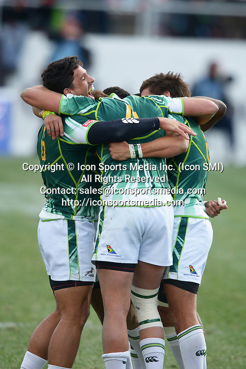 10 February 2013: South Africa celebrates winning the Cup final of round 5 of the HSBC Sevens World Series of Rugby at Sam Boyd Stadium in Las Vegas, Nevada. South Africa defeated New Zealand 40-21.