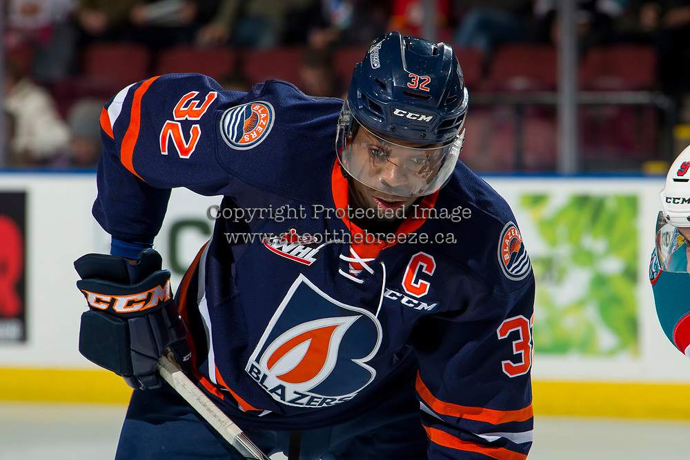 KELOWNA, CANADA - DECEMBER 29: Jermaine Loewen #32 of the Kamloops Blazers lines up for the face-off against the Kelowna Rockets on December 29, 2018 at Prospera Place in Kelowna, British Columbia, Canada.  (Photo by Marissa Baecker/Shoot the Breeze)