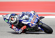 Spain's Jorge Lorenzo (99) in a practice session during the 2016 Grand Prix of the Americas Moto GP race at circuit of the Americas, in Austin, Texas on April 9, 2016.