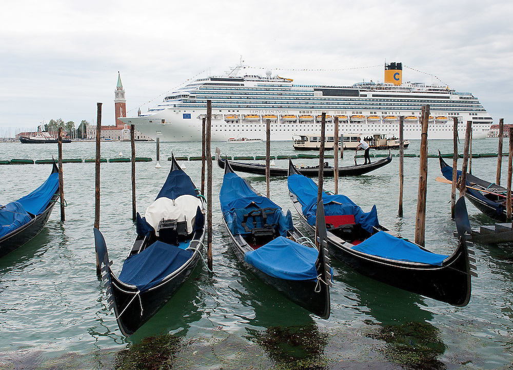 VENICE, ITALY - MAY 06:  The new flagship of Costa Cruises Fascinosa sails in St Mark's Basin on its madien voyage on May 6, 2012 in Venice, Italy. Costa Cruise announced yesterday that new safety systems are installed to avoid tragedies like the one island of Giglio, which saw the Costa Concordia sink with the loss of 34 lives.  (Photo by Marco Secchi/Getty Images)