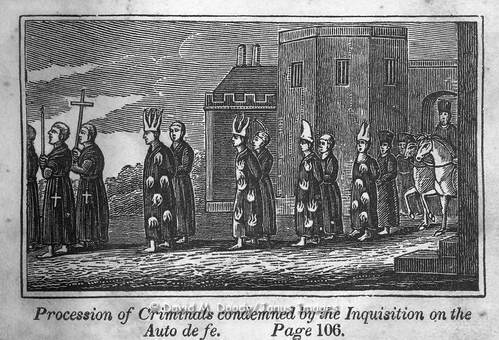 """""""The Inquisition in Spain"""" procession of the condemend on the Auto de fe of the Inquisition. Protestant vs Catholic violence. Vintage Woodcut Illustration from: """"Book of Martyrs"""" Tortures carried out in the name of religion."""
