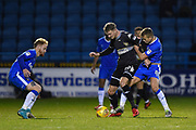 Bury forward Michael Smith (29) battles with Gillingham FC midfielder Jake Hessenthaler (8) during the EFL Sky Bet League 1 match between Gillingham and Bury at the MEMS Priestfield Stadium, Gillingham, England on 11 November 2017. Photo by Martin Cole.
