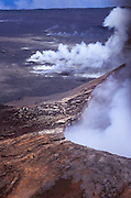 Steam rising from the Pu'u O'o Vent on the southern flank of Kilauea, Hawaii Volcanoes National Park, The Big Island, Hawaii USA