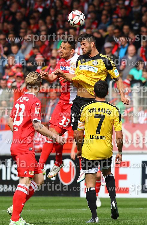 12.04.2015, Alte Foersterei, Berlin, GER, 2. FBL, 1. FC Union Berlin vs VfR Aalen, 28. Runde, im Bild Kopfballduell zwischen Bajram Nebihi (#33, 1. FC Union Berlin) und Juergen Gjasula (#5, VfR Aalen) // SPO during the 2nd German Bundesliga 28th round match between 1. FC Union Berlin and VfR Aalen at the Alte Foersterei in Berlin, Germany on 2015/04/12. EXPA Pictures &copy; 2015, PhotoCredit: EXPA/ Eibner-Pressefoto/ Hundt<br /> <br /> *****ATTENTION - OUT of GER*****