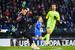 December 13, 2018 - Genk, BELGIUM - 181213 Goalkeeper Danny Vukovic of Genk and Patrick Mortensen of Sarpsborg 08 during the Europa League group stage match between Genk and Sarpsborg 08 on December 13, 2018 in Genk. .Photo: Fredrik Varfjell / BILDBYRN / kod FV / 150187. (Credit Image: © Fredrik Varfjell/Bildbyran via ZUMA Press)