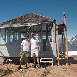 Roddy and Joe at Desolation Peak Fire Lookout, North Cascades National Park, Washington, US