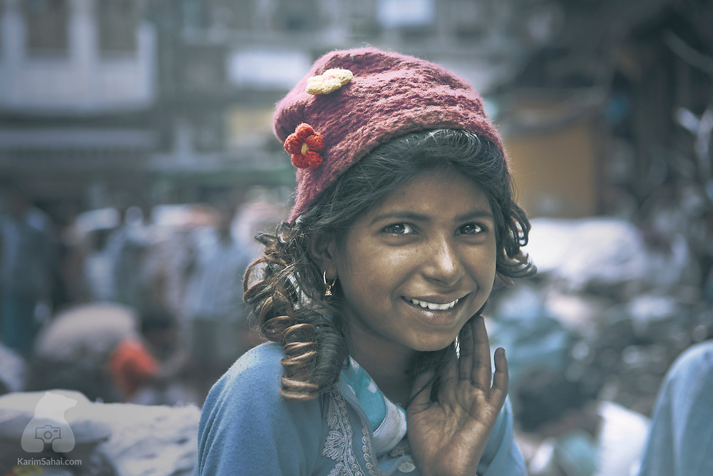 Shy girl, Kolkata, West Bengal, India.