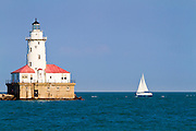 Chicago harbor lighthouse. Chicago, IL, USA