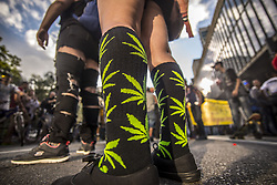 May 6, 2017 - Sao Paulo, Brazil - Activists demanding the legalization of marijuana march past the Reichstag during the annual Hemp Parade (Hanfparade) on May 6, 2017 in São Paulo, Brazil. Proponents of cannabis legalization are hoping that the legalization in several states in the USA in recent years will increase the likelihood of legalization in Brazil. (Credit Image: © Cris Faga/NurPhoto via ZUMA Press)