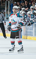 KELOWNA, CANADA - FEBRUARY 8: Dylen McKiinlay #19 of the Kelowna Rockets stands on the ice against the Portland Winterhawks at the Kelowna Rockets on February 8, 2013 at Prospera Place in Kelowna, British Columbia, Canada (Photo by Marissa Baecker/Shoot the Breeze) *** Local Caption ***