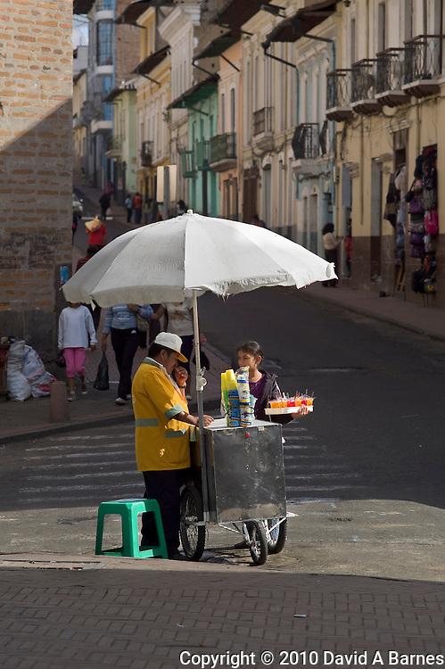 Street vendor selling cold drinks, Quito, Ecuador