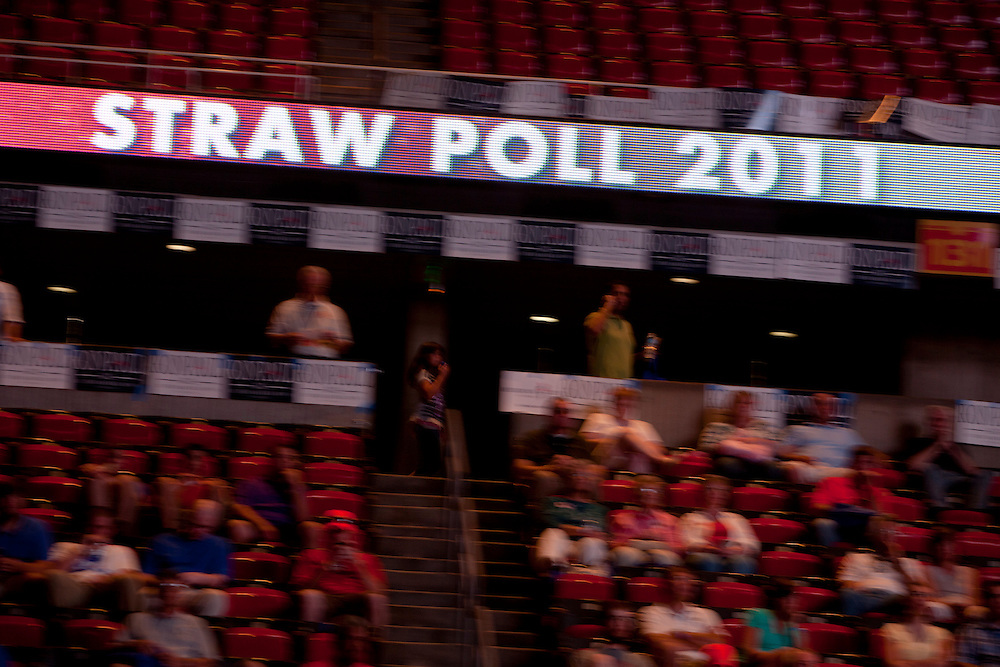 A scrolling banner inside the Hilton Coliseum during the Iowa Republican Straw Poll on Saturday, August 13, 2011 in Ames, IA.