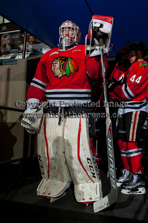 KELOWNA, CANADA - APRIL 7: Cole Kehler #31 of the Portland Winterhawks stands in the tunnel at the start of warm up against the Kelowna Rockets on April 7, 2017 at Prospera Place in Kelowna, British Columbia, Canada.  (Photo by Marissa Baecker/Shoot the Breeze)  *** Local Caption ***