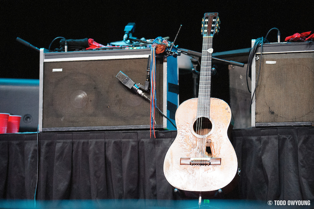 Willie Nelson's famous guitar Trigger on stage before the Willie Nelson and band take the stage at the Pageant.