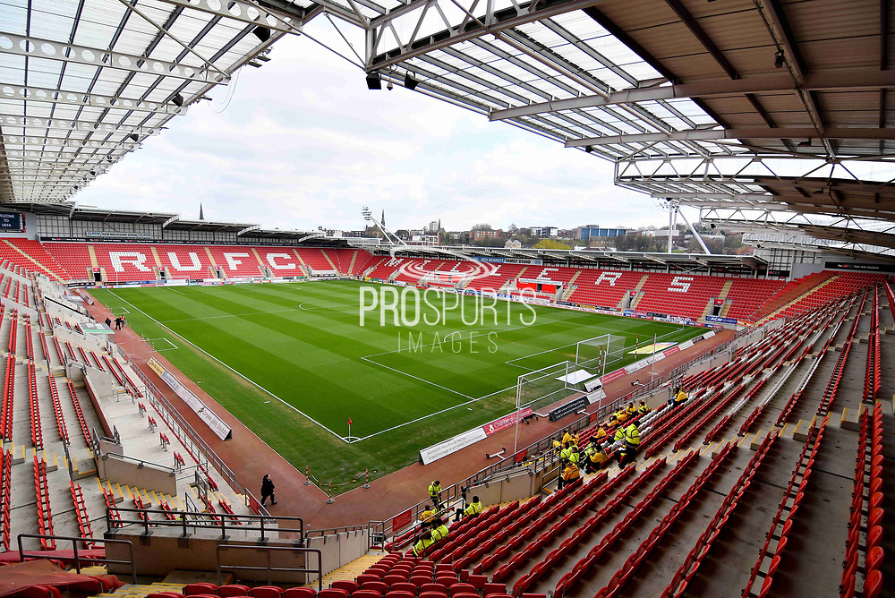 A general view inside Rotherham United AESSEAL stadium before the EFL Sky Bet Championship match between Rotherham United and Nottingham Forest at the AESSEAL New York Stadium, Rotherham, England on 6 April 2019.