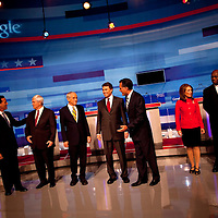 ORLANDO, FL -- September 22, 2011 -- The Republican presidential candidates chat during the Florida P5 at the Orange County Convention Center in Orlando, Fla., on Thursday, September 22, 2011.  Nine Republican presidential candidates congregated for a Fox News / Google Debate.   (Chip Litherland for The New York Times)