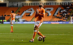 Blackpool's Liam Feeney reacts after being caught offside during the Emirates FA Cup, third round match at Bloomfield Road, Blackpool.