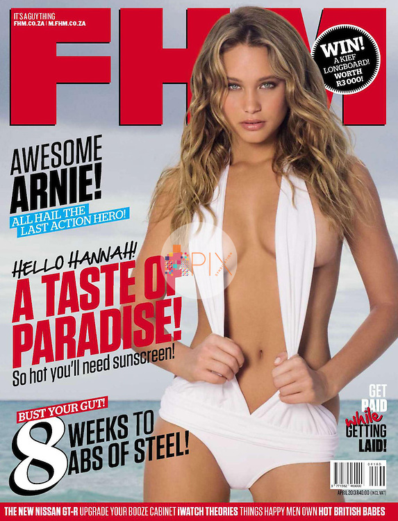 Sports Illustrated Swimsuit Edition 'Rookie' starlet Hannah Davis is the cover/feature star in the April issue of FHM South Africa.  <br /> <br /> Images from our shoot 'Hannah Davis', available for worldwide editorials: http://www.apixsyndication.com/gallery/Hannah-Davis-Sports-Illustrated-swimsuit-model/G0000ugMUhES0gGo/C0000hNEL19oGXJI