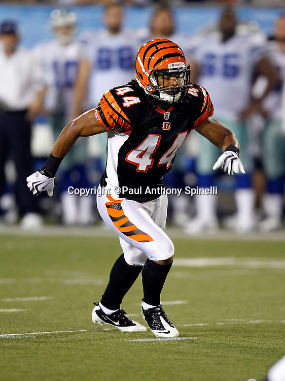 Cincinnati Bengals safety Rico Murray (44) makes a move during the NFL Pro Football Hall of Fame preseason football game between the Dallas Cowboys and the Cincinnati Bengals on Sunday, August 8, 2010 in Canton, Ohio. The Cowboys won the game 16-7. (©Paul Anthony Spinelli)