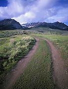 Idaho.  Boulder Mountains.  Off road tire  tracks near Sun Valley.