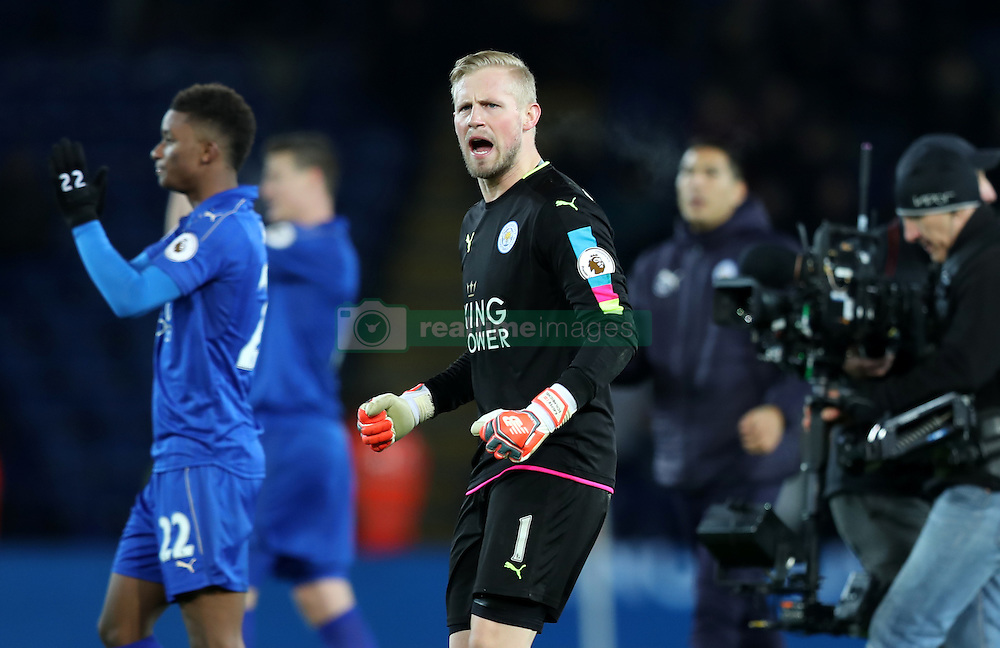 Leicester City goalkeeper Kasper Schmeichel celebrates after the game