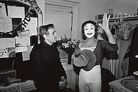 Charles Aznavour with Marcel Marceau on Marcdau's birthday, in New York City