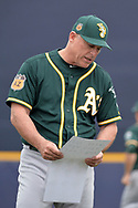 PEORIA, AZ - MARCH 05:  Chip Hale #4 of the Oakland Athletics talks to players on the field during the spring training game against the Seattle Mariners at Peoria Stadium on March 5, 2017 in Peoria, Arizona.  (Photo by Jennifer Stewart/Getty Images)