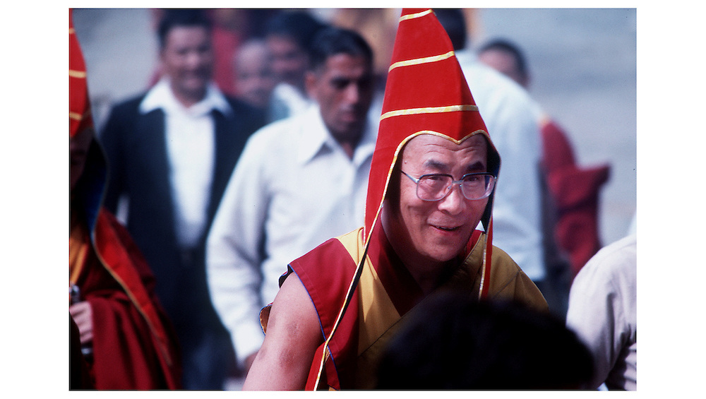 The Dalai Lama, Tibet's God King, smiles after performing a puja in Dharamsala,India.