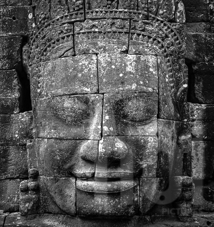 Massive stone face of Bayon temple, <br /> Angkor, Cambodia, 2005, Southeast Asia