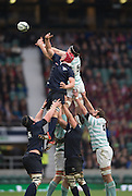 Twickenham, United Kingdom. Fergus TAYLOR[ Red cap] and Ian NAGLE contest the line out ball, during the 2015 Men's Varsity Match, Oxford vs Cambridge, RFU Twickenham Stadium, England.<br /> <br /> Thursday  10/12/2015<br /> <br /> [Mandatory Credit. Peter SPURRIER/Intersport Images].
