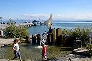 Immenstaad, Wasserspiel, Schiffsanlegestelle, Bodensee, Baden-Württemberg, Deutschland