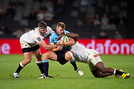 SYDNEY, AUSTRALIA - APRIL 27: Waratahs player Alex Newsome (14) gets hit in a big tackle from Sharks player Tendai Mtawarira (1) at round 11 of Super Rugby between NSW Waratahs and Sharks on April 27, 2019 at Western Sydney Stadium in NSW, Australia. (Photo by Speed Media/Icon Sportswire)
