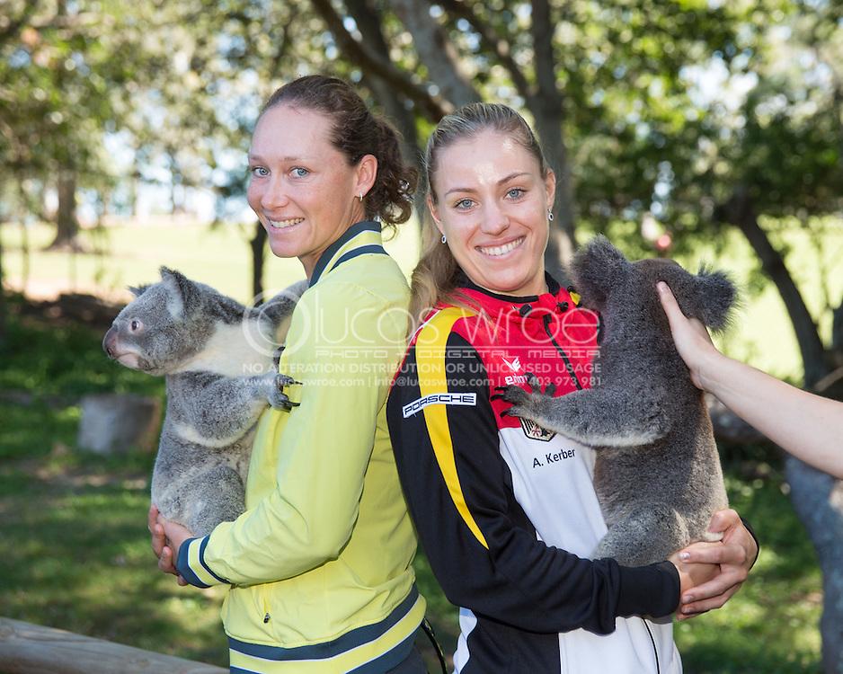 Samantha Stosur (AUS) and Angelique Kerber (GER), April 18, 2014 - TENNIS : Fed Cup, Semi-Final, Australia v Germany. Lone Pine Koala Sanctuary, Brisbane, Queensland, Australia. Credit: Lucas Wroe