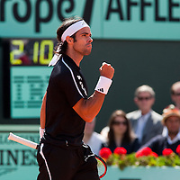 5 June 2009: Fernando Gonzalez of Chile reacts during the Men's Singles Semi Final match on day thirteen of the French Open at Roland Garros in Paris, France.