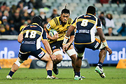 Sam Lousi looks to take on the defence during the Super Rugby match, Brumbies V Hurricanes, GIO Stadium, Canberra, Australia, 30th June 2018.Copyright photo: David Neilson / www.photosport.nz