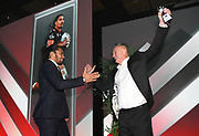 Isaiah Papali'i, with Vodafone Warriors Owner & Director Mark Robinson. Vodafone Warriors 2018 NRL Rookie of the Year.<br /> Vodafone Warriors Annual Awards night. Sky City, Auckland, New Zealand. Sunday 2 September 2018. © Copyright photo: Andrew Cornaga / www.Photosport.nz