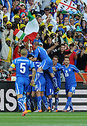 Vincenzo Iaquinta of Italy celebrates scoring the first goal for his team from the penalty spot during the 2010 FIFA World Cup South Africa Group F match between Italy and New Zealand at the Mbombela Stadium on June 20, 2010 in Nelspruit, South Africa.
