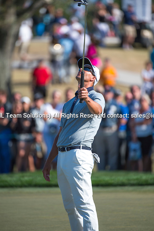27 February 2016: Adam Scott reacts after missing his putt during the third round of the Honda Classic at the PGA National Resort & Spa in Palm Beach Gardens, FL.