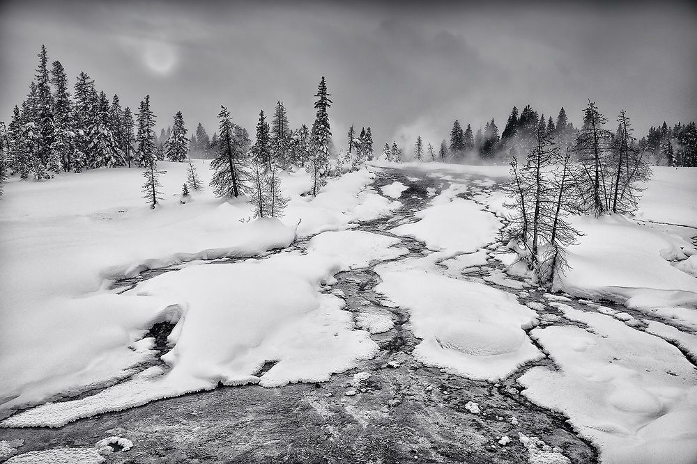 Limited edition photograph of a wintery geyser basin in Yellowstone National Park, Wyoming.