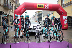 Drops Cycling Team riders arrive at the pre-race sign on before the 76,1 km first stage of the 2016 Ladies' Tour of Norway women's road cycling race on August 12, 2016 between Halden and Fredrikstad, Norway. (Photo by Balint Hamvas/Velofocus)