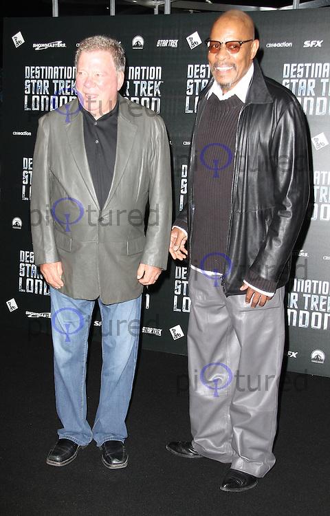 LONDON - OCTOBER 19: William Shatner; Avery Brooks attended 'Destination Star Trek London' at the ExCel Centre London, UK, October 19, 2012. (Photo by Richard Goldschmidt)