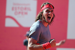 May 4, 2019 - Estoril, Portugal - Stefanos Tsitsipas of Greece celebrates his victory over David Goffin of Belgium during the Millennium Estoril Open semifinal ATP 250 tennis tournament at the Clube de Tenis do Estoril in Estoril, Portugal on May 4, 2019. (Stefanos Tsitsipas won 2-1) (Credit Image: © Pedro Fiuza/NurPhoto via ZUMA Press)