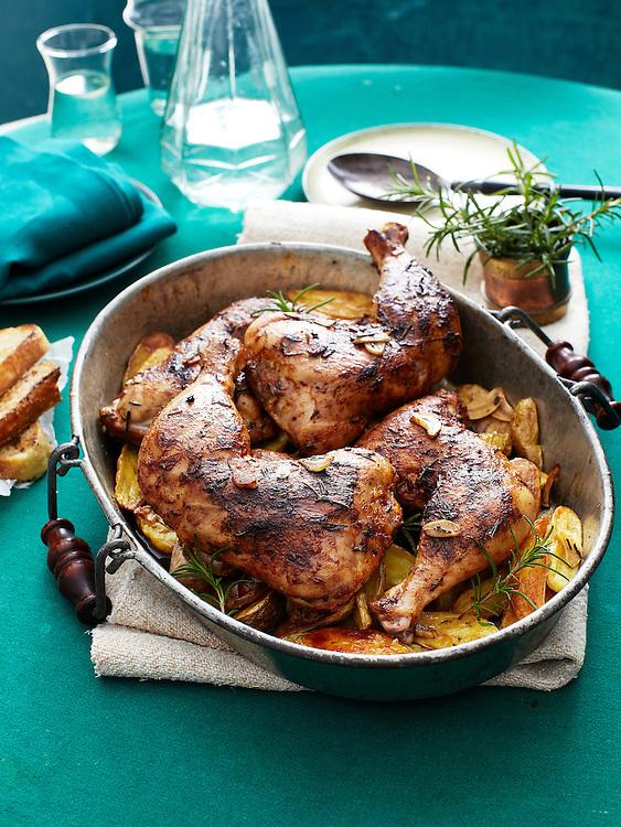 Slow Cooker Lemony Rosemary-Garlic Chicken with Potatoes