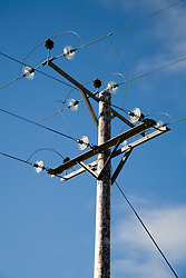 Electricity supply power cables on Orkney; Scotland,