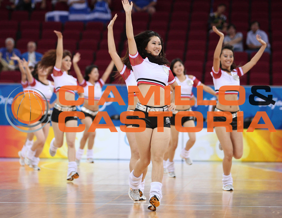 DESCRIZIONE : Beijing Pechino Olympic Games Olimpiadi 2008 Greece Angola <br /> GIOCATORE : Cheerleaders <br /> SQUADRA : <br /> EVENTO : Olympic Games Olimpiadi 2008 <br /> GARA : Grecia Angola Greece Angola <br /> DATA : 16/08/2008 <br /> CATEGORIA : <br /> SPORT : Pallacanestro <br /> AUTORE : Agenzia Ciamillo-Castoria/E.Castoria <br /> Galleria : Beijing Pechino Olympic Games Olimpiadi 2008 <br /> Fotonotizia : Beijing Pechino Olympic Games Olimpiadi 2008 Greece Angola <br /> Predefinita :