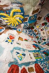 Interior room of Salvation Mountain, built by Leonard Knight, Niland, California, near Salton Sea