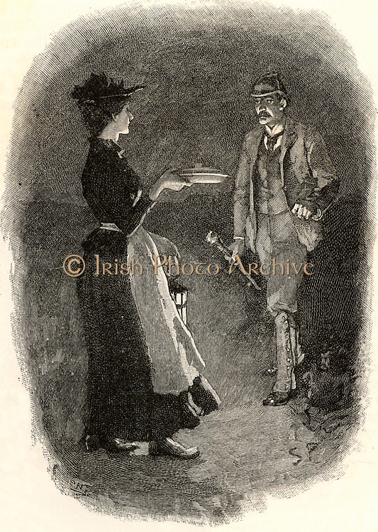 The Adventure of Silver Blaze'.  The maid meeting Fitzroy Simpson, the prime murder suspect, on her way to Silver Blaze's stable with the stable lad's supper.  From 'The Adventures of Sherlock Holmes' by Arthur Conan Doyle from 'The Strand Magazine' (London, 1892). Illustration by Sidney E Paget, the first artist to draw Sherlock Holmes.  Engraving.